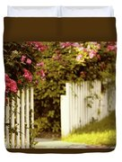 Picket Fence Roses Duvet Cover
