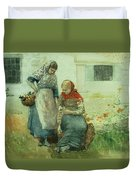 Picking Flowers Duvet Cover by Winslow Homer