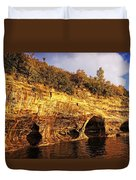 Pictured Rocks Caves Duvet Cover