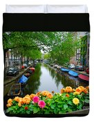 Picturesque View Amsterdam Holland Canal Flowers Duvet Cover