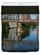 Picturesque View Of The Railroad Graffiti Bridge Over Lady Bird Lake As Canoes And Kayakers Paddle Under The Bridge On A Beautiful Summers Day Duvet Cover