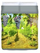 Picturesque Vineyard At Sunset Duvet Cover