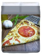Piece Of Margarita Pizza With Fresh Ingredients Duvet Cover