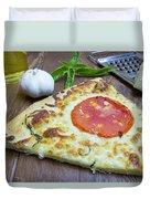 Piece Of Margarita Pizza With Ingredients Duvet Cover