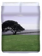 Pier And Tree By The River Duvet Cover