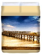 Pier At Sunset Oil Painting Photograph Duvet Cover
