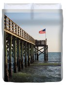 Pier, Flag, Fishing Duvet Cover