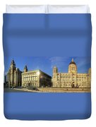 Pier Head Liverpool Panorama 2 Duvet Cover