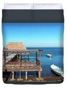 Pier In Champoton, Mexico Duvet Cover