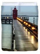 Pier With Lighthouse Duvet Cover