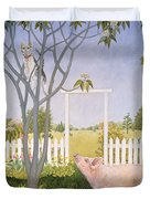 Pig And Cat Duvet Cover