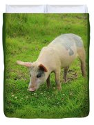 Pig In Wildflowers Duvet Cover