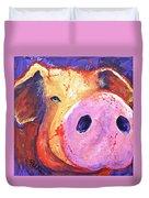 Pig On Purple I Duvet Cover