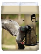 Pigeon And Feeder Wings Spread Duvet Cover
