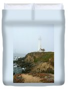 Pigeon Point Light In A Mist Duvet Cover