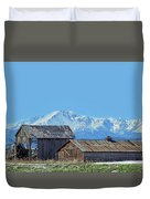 Pikes Peak And Old Barn Spring Snow Duvet Cover