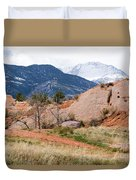 Pikes Peak From Red Rock Canyon Duvet Cover