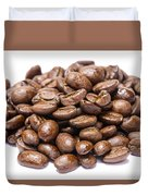 Pile Of Coffee Beans Isolated On White Duvet Cover