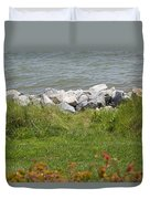 Pile Of Rocks On Shoreline Duvet Cover