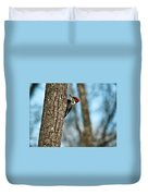 Pileated Billed Woodpecker Pecking 2 Duvet Cover