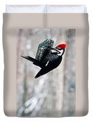 Pileated Billed Woodpecker Pecking 6 Duvet Cover