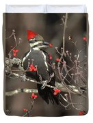 Pileated Woodpecker Lunch Duvet Cover
