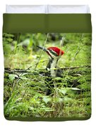 Pileated Woodpecker On The Ground No. 1 Duvet Cover