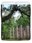 Pillars Of Sheldon Church Ruins Duvet Cover