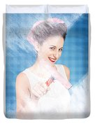 Pin Up Cleaning Lady Washing Glass Shower Door Duvet Cover