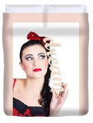 Pin Up Girl Daydreaming  Duvet Cover