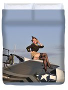Pin-up Girl Sitting On The Wing Duvet Cover by Christian Kieffer