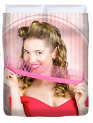 Pin Up Hairdresser Woman With Hair Salon Brush Duvet Cover