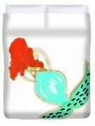 Pin Up Redhead Mermaid Duvet Cover