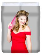 Pin-up Styled Fashion Model With Classic Hairstyle Duvet Cover