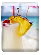 Pina Colada Cocktail On The Beach Duvet Cover