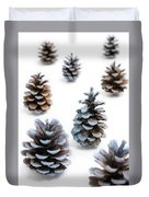 Pine Cones Looking Like Christmas Trees On White Snowy Backgroun Duvet Cover
