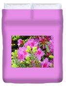 Pine Conifer Art Print Pink Azaleas Flower Garden Baslee Troutman Duvet Cover