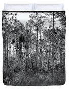 Pine Land In B/w Duvet Cover by Rudy Umans