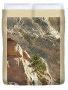 Pine On Limestone Wall Duvet Cover