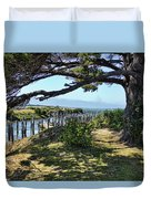 Pine Pilings And Mist Duvet Cover