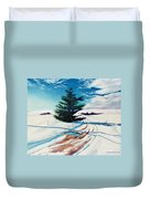 Pine Tree Along The Country Road Duvet Cover