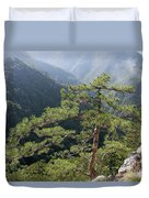 Pine Tree On Mountain Landscape Duvet Cover
