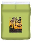 Pine Trees At Sunset Duvet Cover