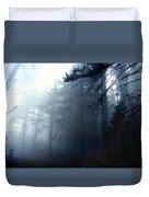 Pine Trees In Fog Duvet Cover