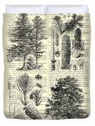 Pine Trees Study Black And White  Duvet Cover