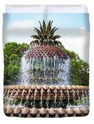 Pineapple Fountain In Charleston South Carolina Duvet Cover