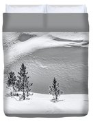 Pines In Snow Drifts Black And White Duvet Cover