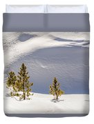 Pines In The Snow Drifts Duvet Cover