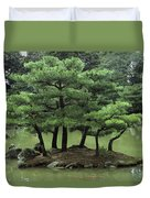 Pines On Island In The Gardens Duvet Cover
