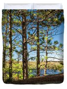 Pines On Sunny Cliff Duvet Cover